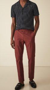 μπορντό tailored παντελόνι με πουκάμισο