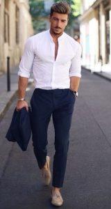 tailored μπλε παντελόνι με πουκάμισο
