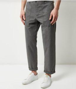 wide-leg γκρι παντελόνι