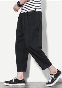 μαύρο wide-leg ανδρικό παντελόνι