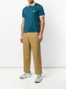 wide-leg μπεζ παντελόνι