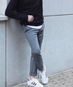 αντρικό γκρι chino παντελόνι