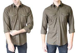 μοντέρνα τακτική διπλώματος μανικιών στα αντρικά πουκάμισα