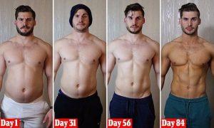 άντρας πριν και μετά γυμναστική