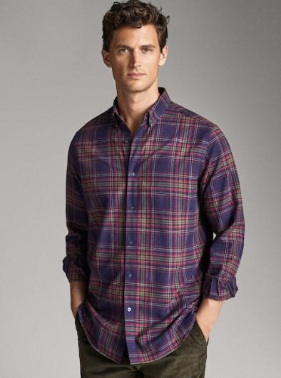 βαμβακερό καρό πουκάμισο regular-fit