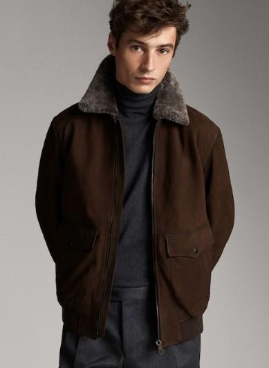 καφέ bomber jacket με γούνα