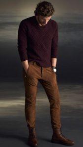 καφέ brogue μπότες με casual outfit