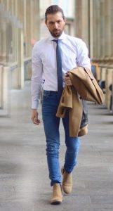 σουέντ μπεζ chelsea μπότες με smart-casual outfit