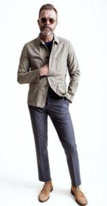 μπεζ σουέντ desert μπότες με smart-casual outfit