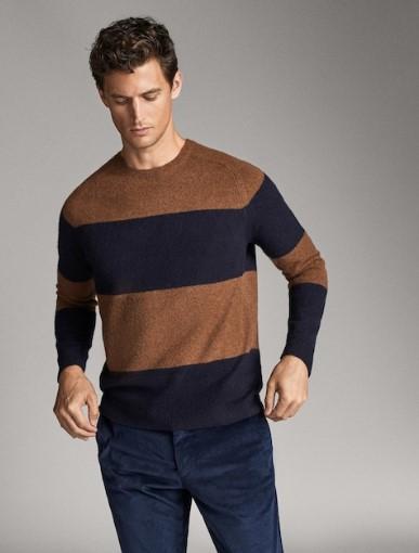 καφέ-μπλε ριγέ πουλόβερ