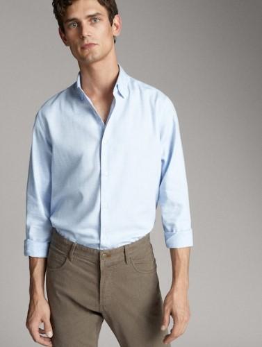 γαλάζιο slim-fit πουκάμισο