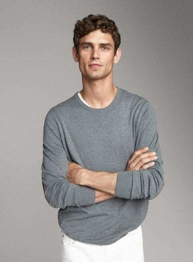 γκρι πουλόβερ από μετάξι και μπαλώματα στους αγκώνες