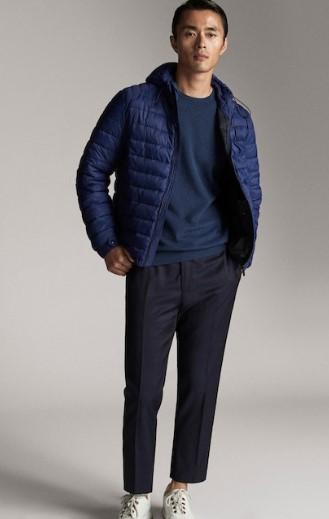 μπλε καπιτονέ jacket με κουκούλα