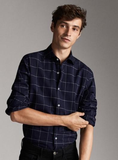 μπλε καρό slim-fit πουκάμισο
