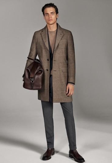 καστανό καρό παλτό