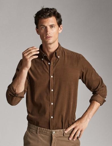 καστανό κοτλέ πουκάμισο slim-fit