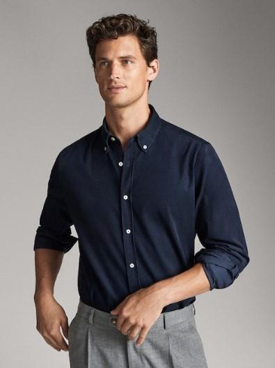 μπλε κοτλέ πουκάμισο slim-fit