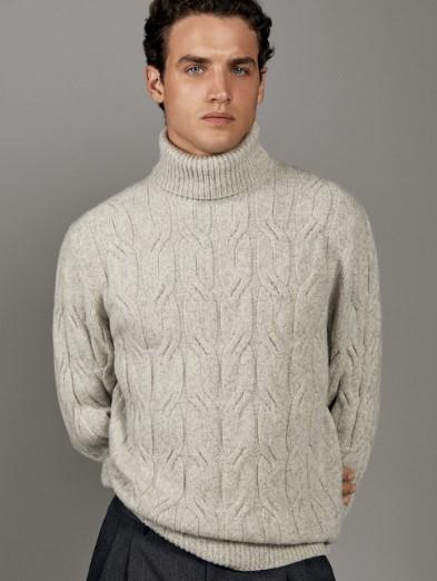 λευκό-γκρι μάλλινο πουλόβερ