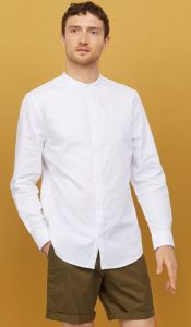 λευκό αντρικό πουκάμισο mao χωρίς γιακά