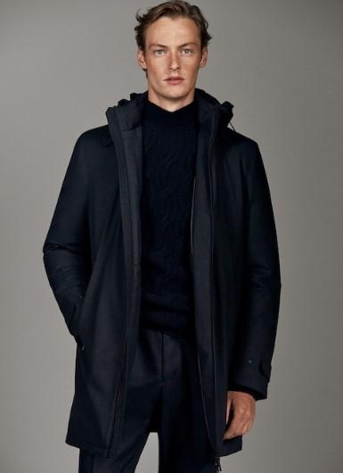 σκούρο μπλε μακρύ jacket με κουκούλα