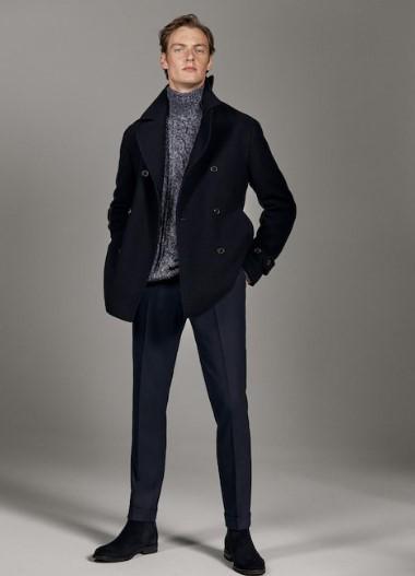 μπλε μάλλινο παλτο