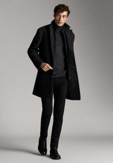 γκρι μάλλινο παλτό