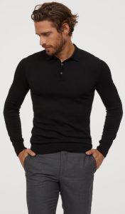μαύρη εφαρμοστή polo μπλούζα