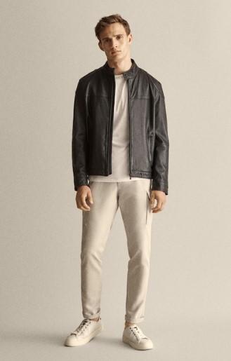 μαύρο δερμάτινο jacket Napa