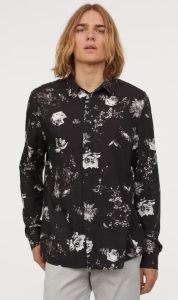 μαύρο λουλουδάτο αντρικό πουκάμισο