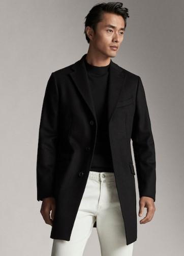 μαύρο παλτό από μαλλί και κασμίρι