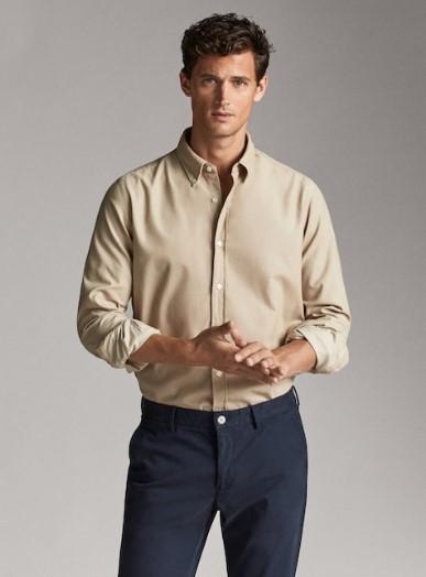 μπεζ κοτλέ πουκάμισο slim-fit
