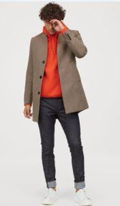 μπεζ μάλλινο ανδρικό παλτό