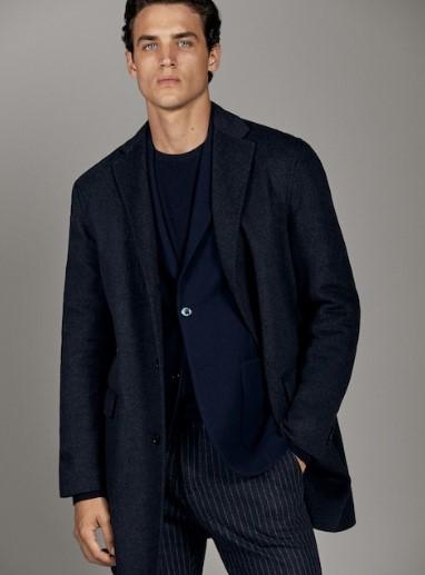 σκούρο μπλε μάλλινο χειροποίητο παλτό