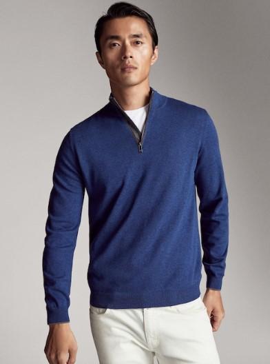 μπλε πουλόβερ με φερμουάρ