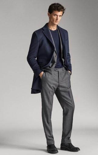 μπλε ψαροκόκαλο παλτό