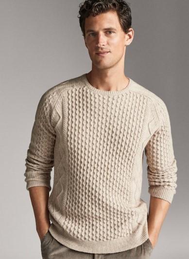 μπεζ πουλόβερ από βαμβάκι και μαλλί