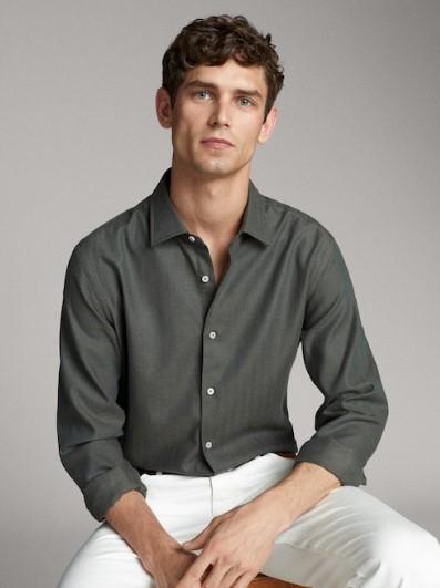 πράσινο πουκάμισο ψαροκόκαλο slim-fit
