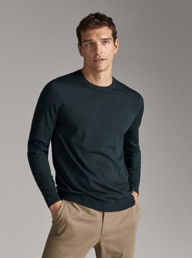 πράσινο πουλόβερ από μαλλί Merino
