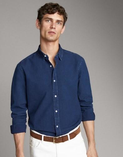 μπλε τζιν πουκάμισο regular-fit