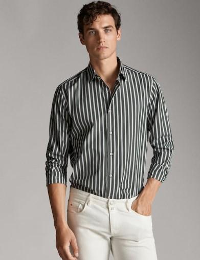 πράσινο-λευκό slim-fit πουκάμισο