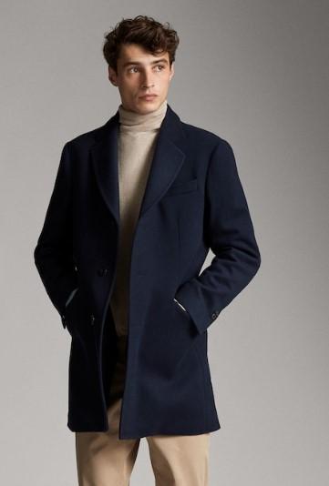 μπλε slim-fit παλτό