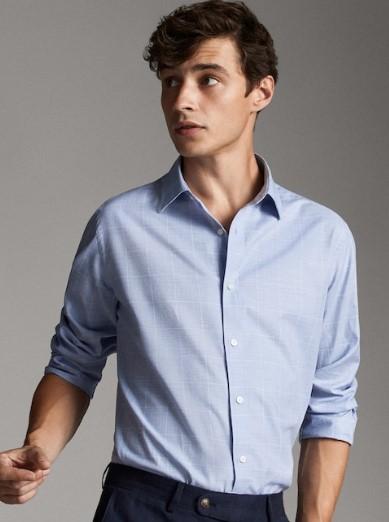 γαλάζιο πουκάμισο μελανζέ slim-fit