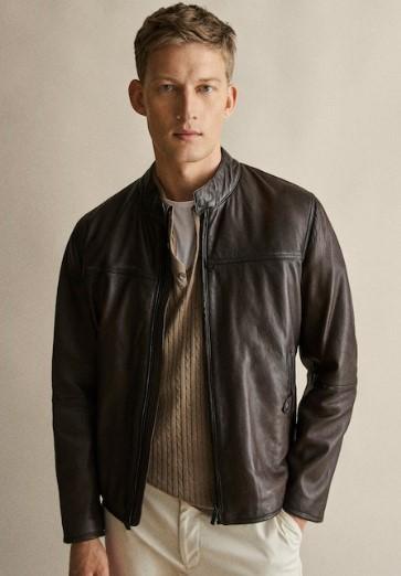 σοκολατί δερμάτινο jacket Napa