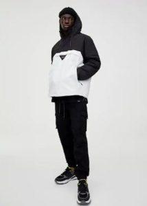άσπρο μαύρο μπουφάν