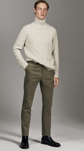 χακί cargo slim-fit παντελόνι