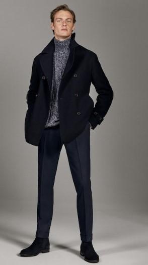 μάλλινο παντελόνι από φανέλα σκούρο μπλε slim-fit