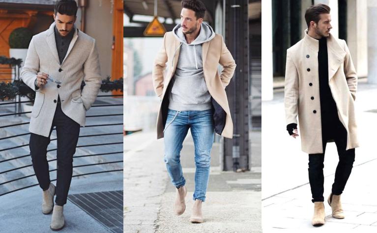 outfits για να επιλέξεις με τα γκρι-μπεζ σουέντ chelsea μποτάκια σου