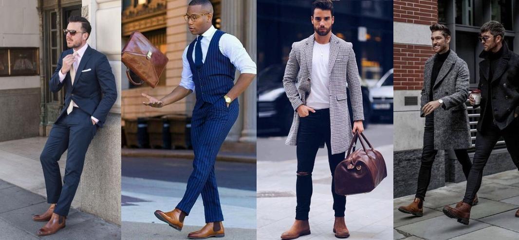 outfits για να επιλέξεις με τα καφέ γυαλιστερά chelsea μποτάκια σου
