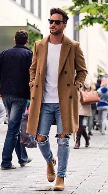 Καφέ ανδρικό παλτό τζιν