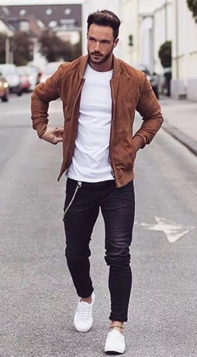 Καφέ σακάκι τζιν παντελόνι
